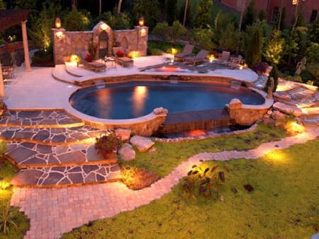 Outdoor lighting swimming pool lighting for Pool design roseville ca